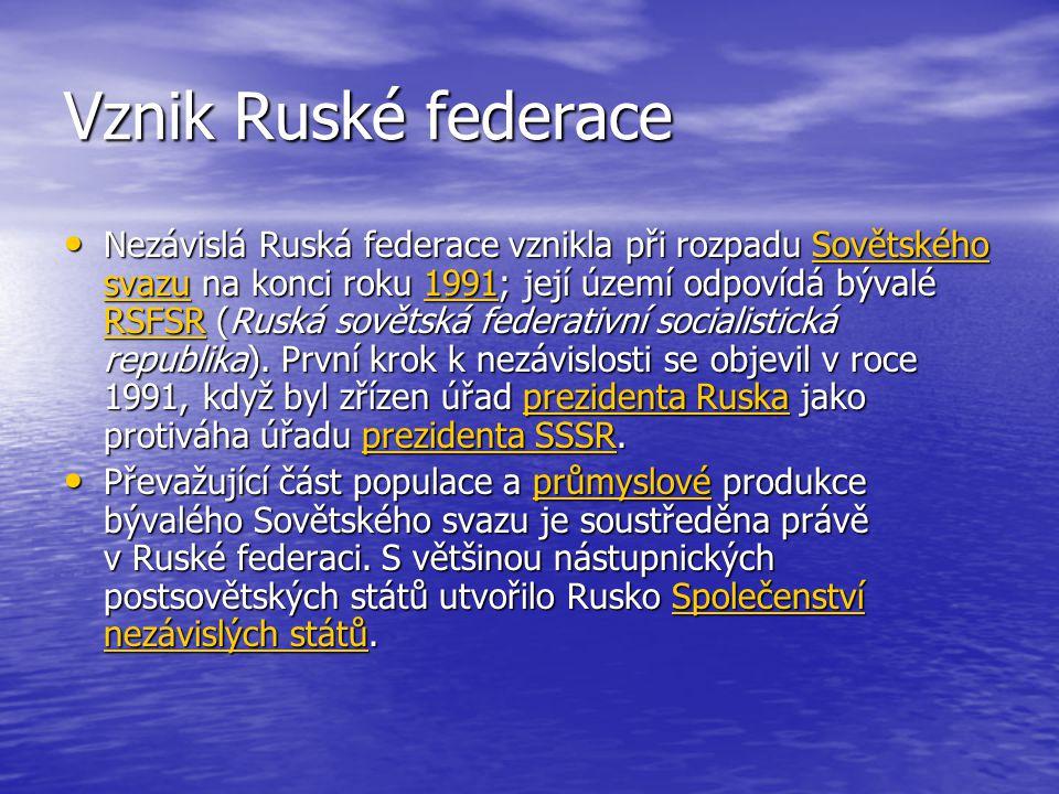 Nezávislá Ruská federace vznikla při rozpadu Sovětského svazu na konci roku 1991; její území odpovídá bývalé RSFSR (Ruská sovětská federativní socialistická republika).