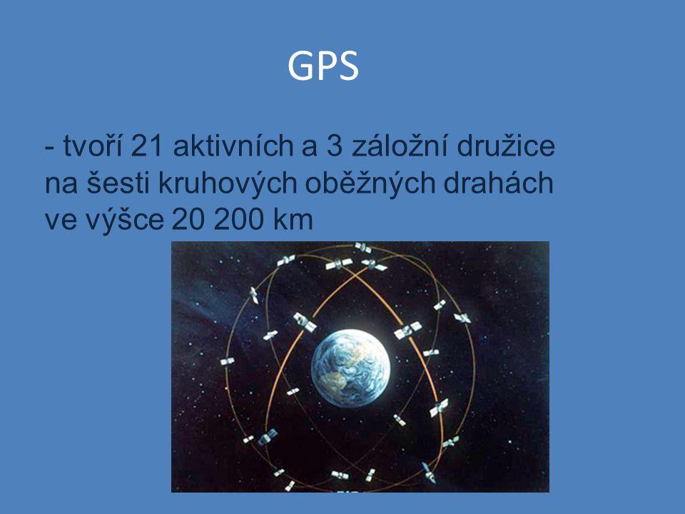 GPS - tvoří 21 aktivních a 3 záložní družice na šesti kruhových oběžných drahách ve výšce 20 200 km