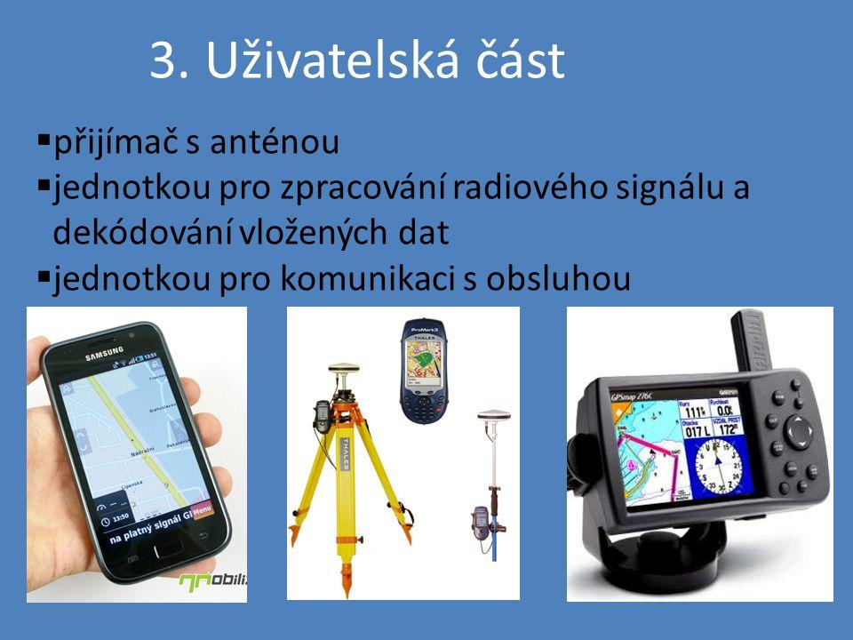 3. Uživatelská část  přijímač s anténou  jednotkou pro zpracování radiového signálu a dekódování vložených dat  jednotkou pro komunikaci s obsluhou