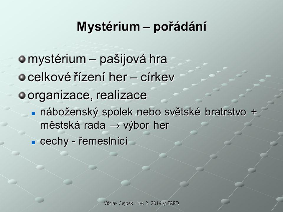 Mystérium – pořádání mystérium – pašijová hra celkové řízení her – církev organizace, realizace náboženský spolek nebo světské bratrstvo + městská rad