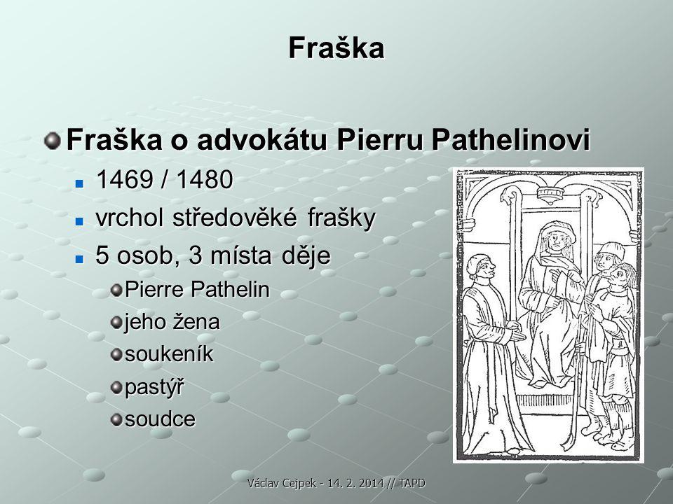 Fraška Fraška o advokátu Pierru Pathelinovi 1469 / 1480 1469 / 1480 vrchol středověké frašky vrchol středověké frašky 5 osob, 3 místa děje 5 osob, 3 m