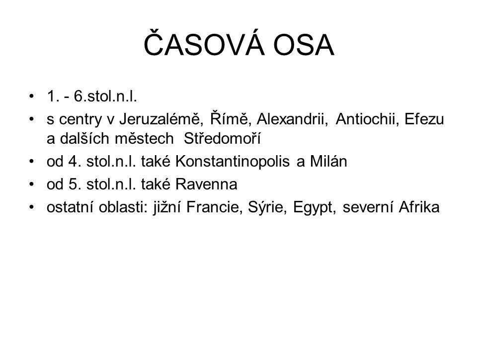 ČASOVÁ OSA 1. - 6.stol.n.l. s centry v Jeruzalémě, Římě, Alexandrii, Antiochii, Efezu a dalších městech Středomoří od 4. stol.n.l. také Konstantinopol