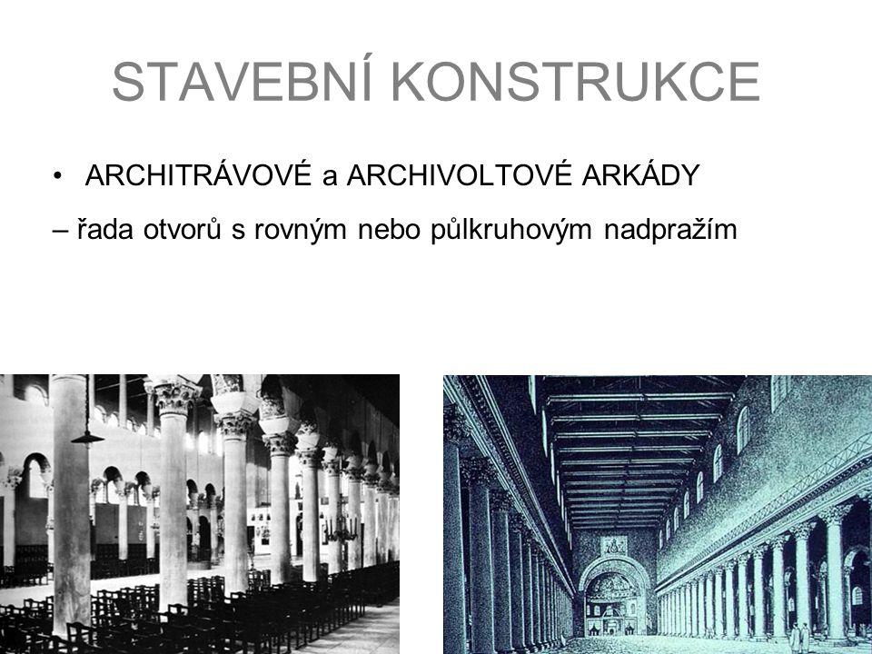 STAVEBNÍ KONSTRUKCE ARCHITRÁVOVÉ a ARCHIVOLTOVÉ ARKÁDY – řada otvorů s rovným nebo půlkruhovým nadpražím