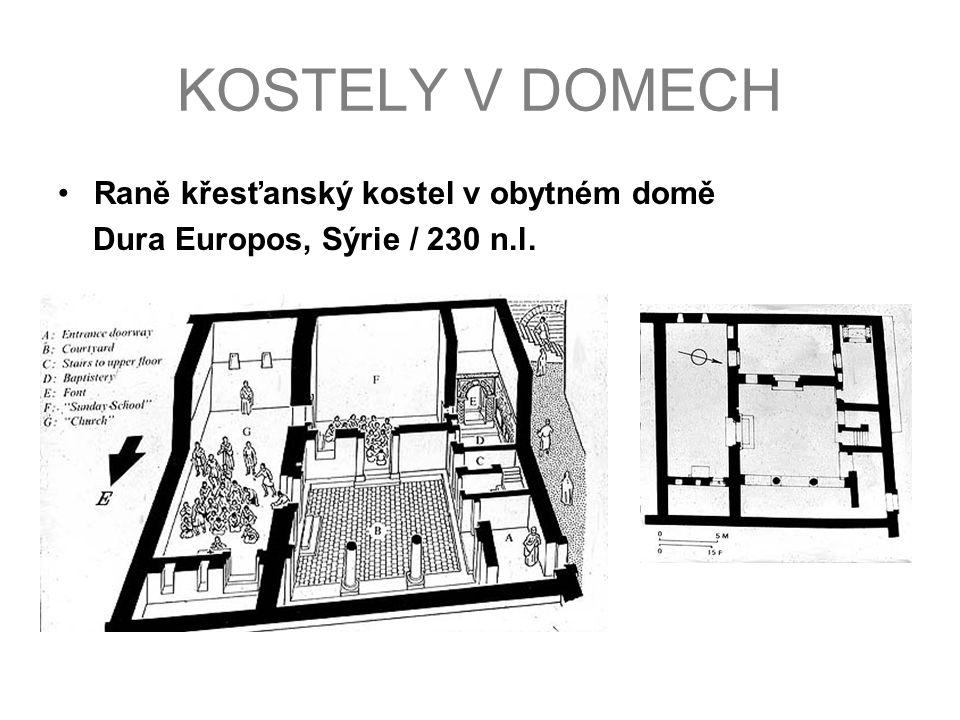KOSTELY V DOMECH Raně křesťanský kostel v obytném domě Dura Europos, Sýrie / 230 n.l.