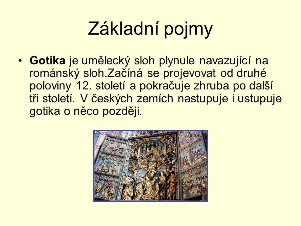 Základní pojmy Gotika je umělecký sloh plynule navazující na románský sloh.Začíná se projevovat od druhé poloviny 12. století a pokračuje zhruba po da