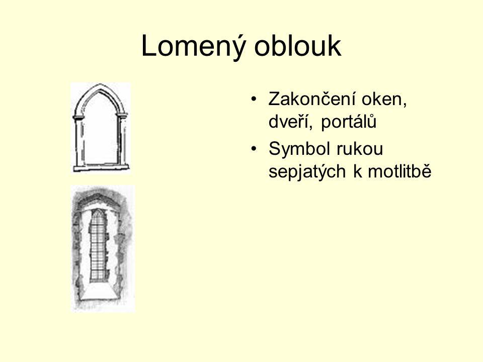 Lomený oblouk Zakončení oken, dveří, portálů Symbol rukou sepjatých k motlitbě