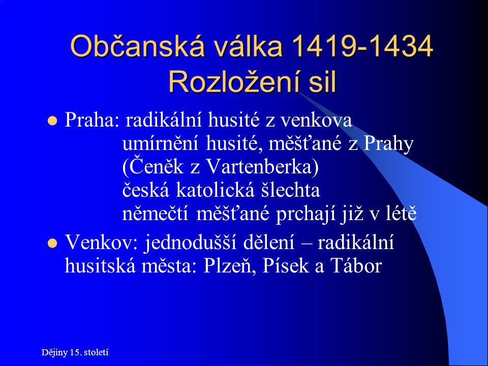 """Dějiny 15. století Občanská válka 1419-1434 První krev 30. 7. 1419 – Jan Želivský s ozbrojenými přívrženci vniká násilím do """"svého"""" uzavřeného kostela"""
