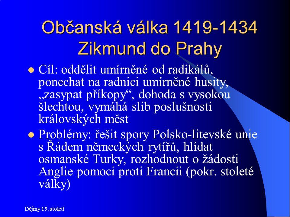 Dějiny 15. století Občanská válka 1419-1434 Zikmund do Prahy Po Václavově smrti má podle pravidel nastoupit na český trůn Zikmund Do roku 1420 bojuje