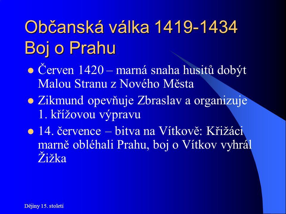 Dějiny 15. století Občanská válka 1419-1434 Čtyři pražské artikuly Kompromisní text, na němž se shodly všechny husitské skupiny: *Přijímání podobojí *