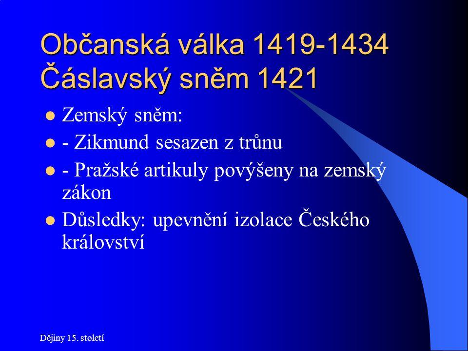 Dějiny 15. století Občanská válka 1419-1434 Boj o Prahu Vyjednávání neúspěšné (Kalich!) 28. července se Zikmund nechá korunovat na Hradčanech a odjížd