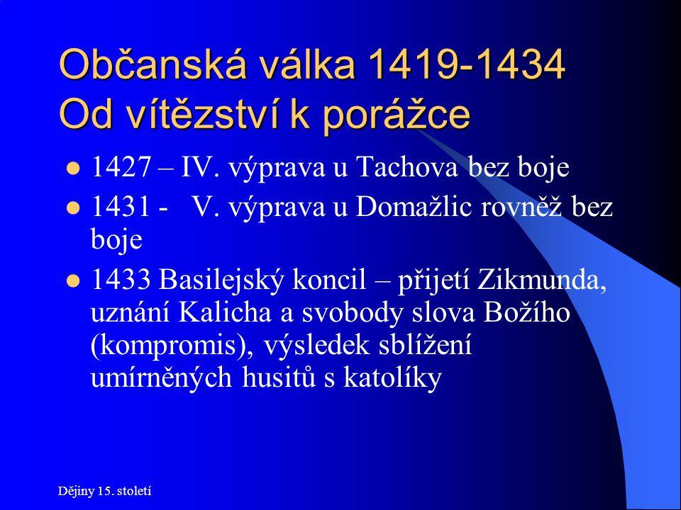 Dějiny 15. století Občanská válka 1419-1434 Od vítězství k porážce Podzim 1421 – II. křížová výprava poražena u Německého Brodu 1423 boj radikálních a