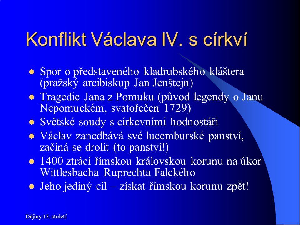 Konflikt Václava IV. s církví Konflikt: snaha získat římskou císařskou korunu x otcův vztah k Avignonu Cesta k omezení církevní moci: získat hodnostář