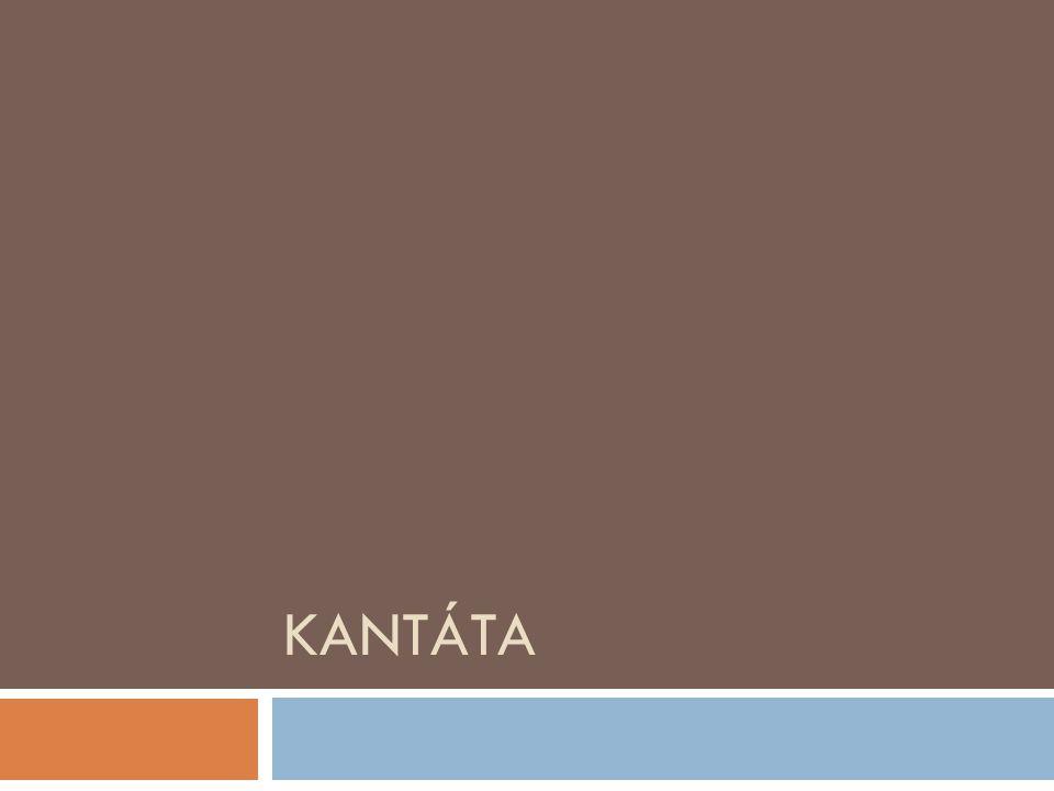 Ve zkratce  cantare = zpívat  rozsáhlé vokálně instrumentální dílo, zpravidla pro sóla, sbor a orchestr  světské kantáty (cantata da camera) – převážně v Itálii  duchovní kantáty (cantata da cheisa) – zformovala se v Německu (E.