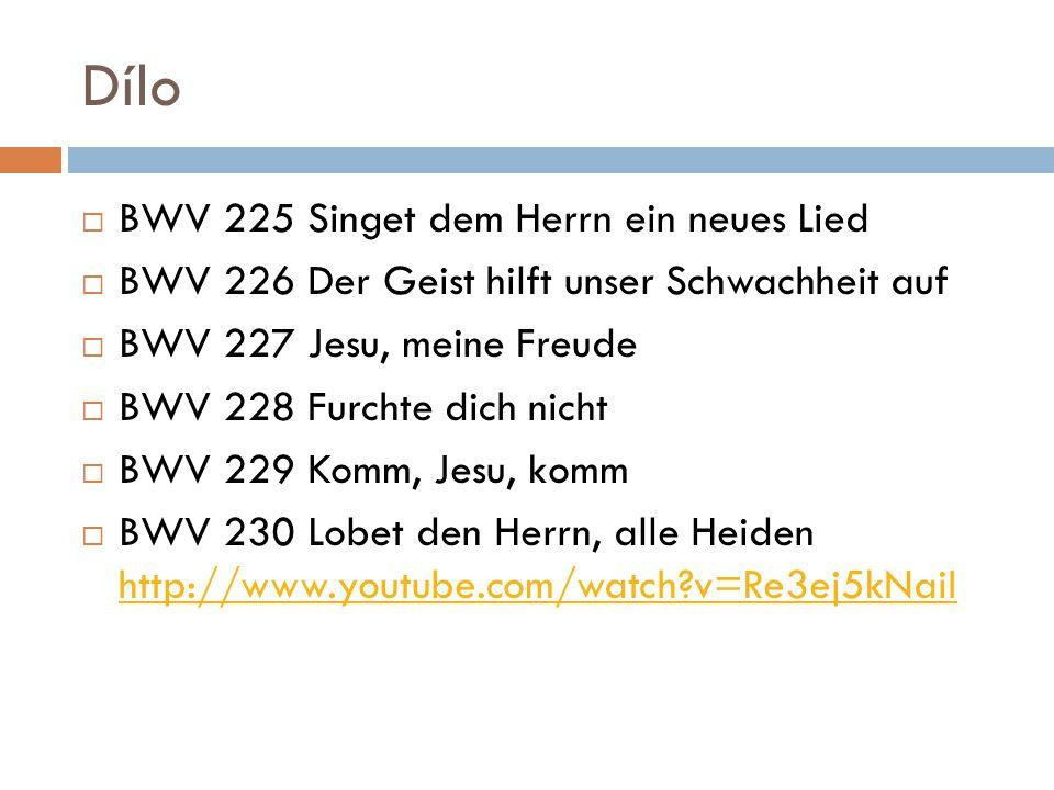 Dílo  BWV 225 Singet dem Herrn ein neues Lied  BWV 226 Der Geist hilft unser Schwachheit auf  BWV 227 Jesu, meine Freude  BWV 228 Furchte dich nicht  BWV 229 Komm, Jesu, komm  BWV 230 Lobet den Herrn, alle Heiden http://www.youtube.com/watch?v=Re3ej5kNaiI http://www.youtube.com/watch?v=Re3ej5kNaiI