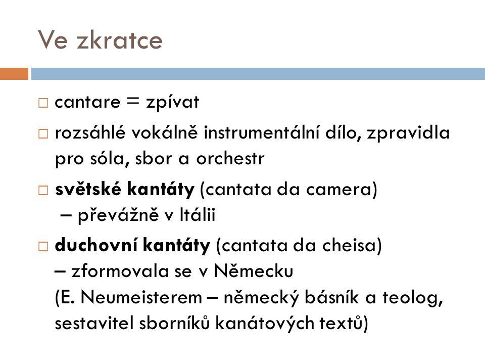 Ve zkratce  v libovolném počtu i pořadí se zde střídají: recitativy, árie, ariosa, sborové věty, chorály, hudební předehry a mezihry  vlastní kantáta se vyvinula v 1.