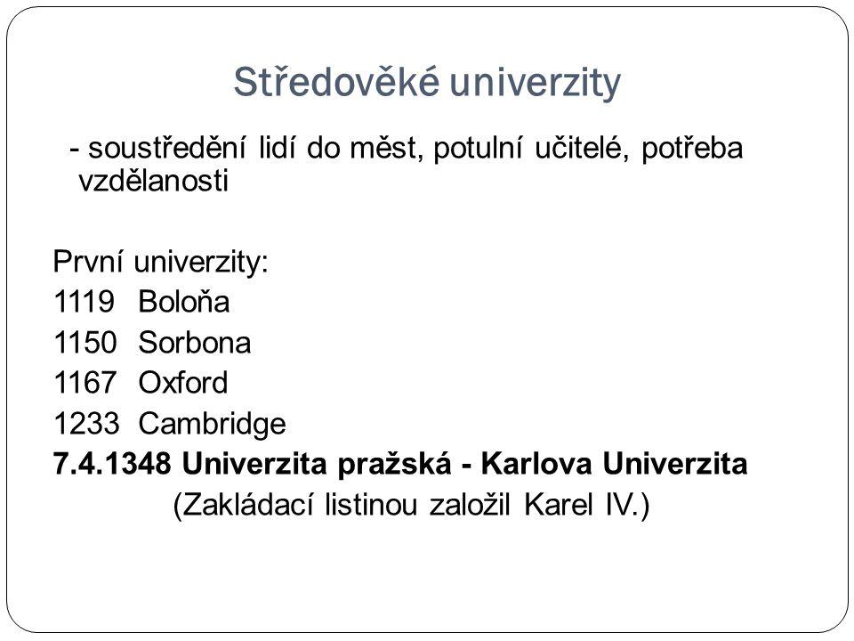 Středověké univerzity - soustředění lidí do měst, potulní učitelé, potřeba vzdělanosti První univerzity: 1119 Boloňa 1150 Sorbona 1167 Oxford 1233 Cam
