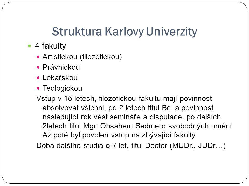 Struktura Karlovy Univerzity 4 fakulty Artistickou (filozofickou) Právnickou Lékařskou Teologickou Vstup v 15 letech, filozofickou fakultu mají povinn