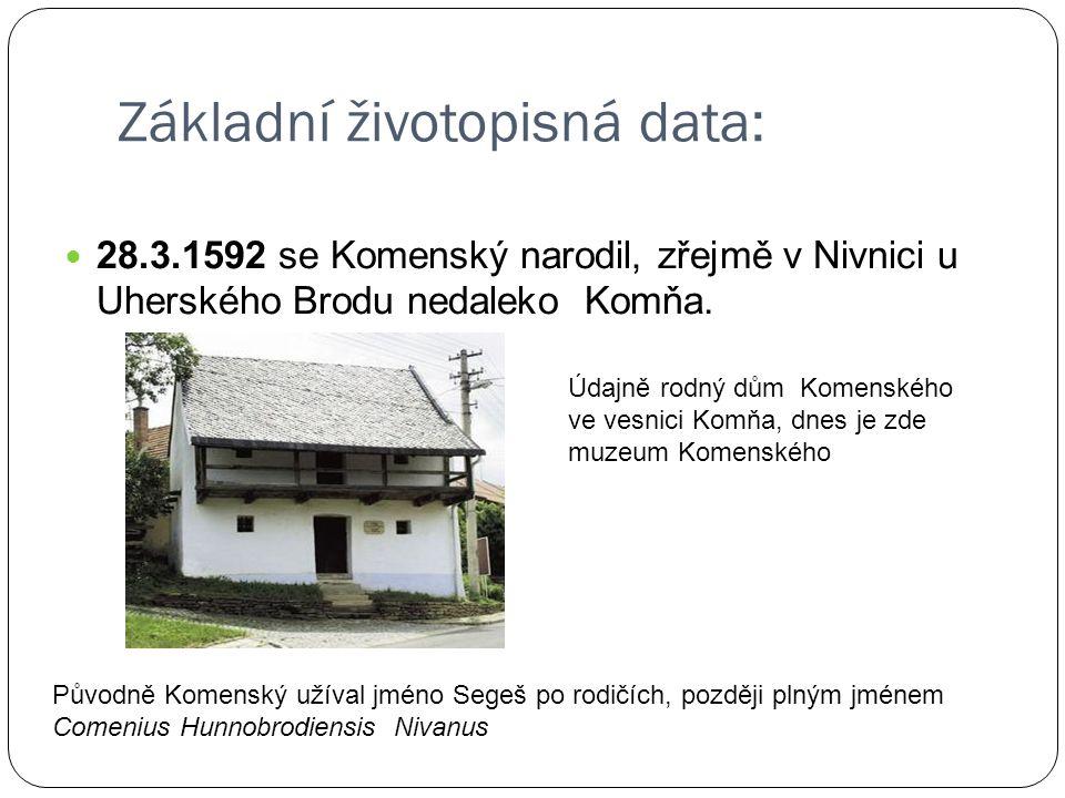 Základní životopisná data: 28.3.1592 se Komenský narodil, zřejmě v Nivnici u Uherského Brodu nedaleko Komňa. Údajně rodný dům Komenského ve vesnici Ko