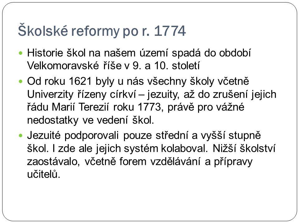 Školské reformy po r. 1774 Historie škol na našem území spadá do období Velkomoravské říše v 9. a 10. století Od roku 1621 byly u nás všechny školy vč