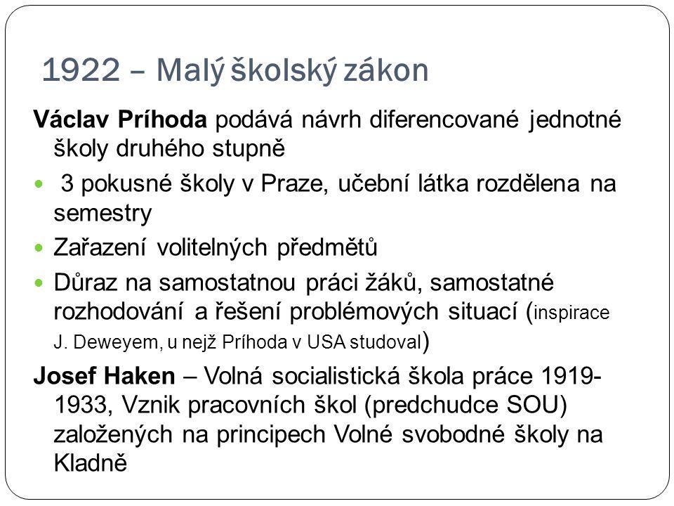 1922 – Malý školský zákon Václav Príhoda podává návrh diferencované jednotné školy druhého stupně 3 pokusné školy v Praze, učební látka rozdělena na s