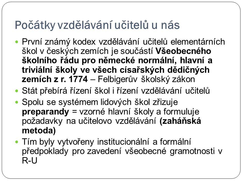 Počátky vzdělávání učitelů u nás První známý kodex vzdělávání učitelů elementárních škol v českých zemích je součástí Všeobecného školního řádu pro ně
