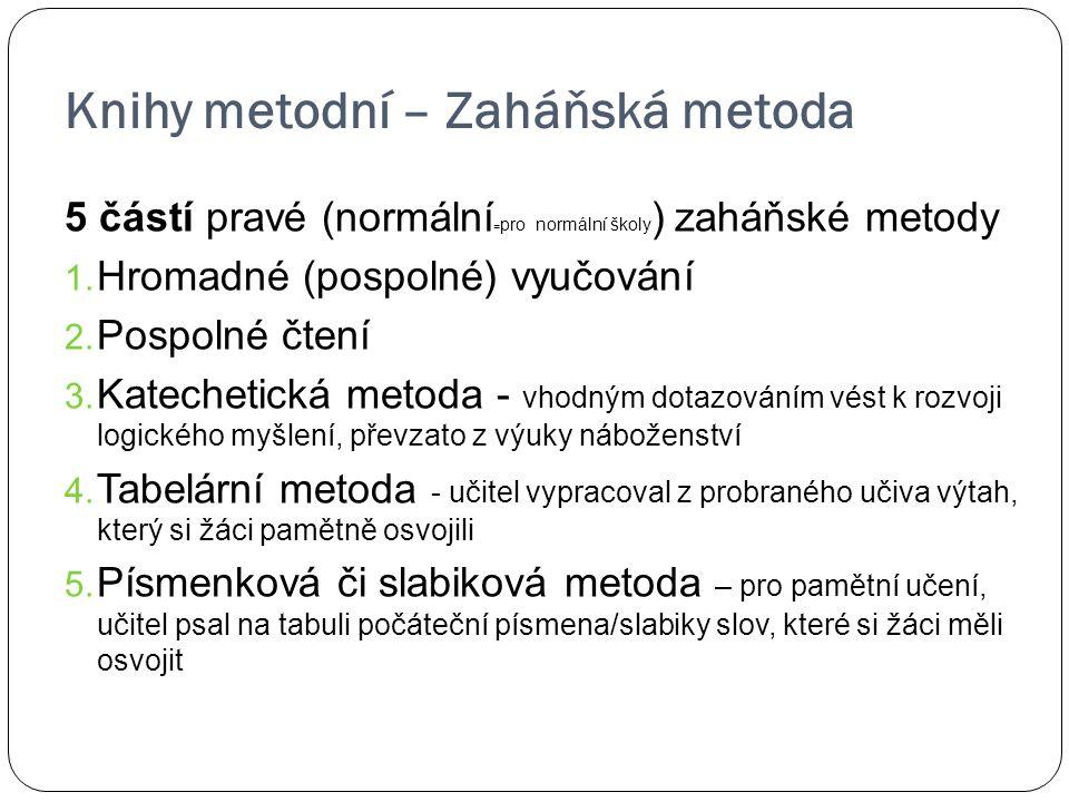 Knihy metodní – Zaháňská metoda 5 částí pravé (normální = pro normální školy ) zaháňské metody 1. Hromadné (pospolné) vyučování 2. Pospolné čtení 3. K