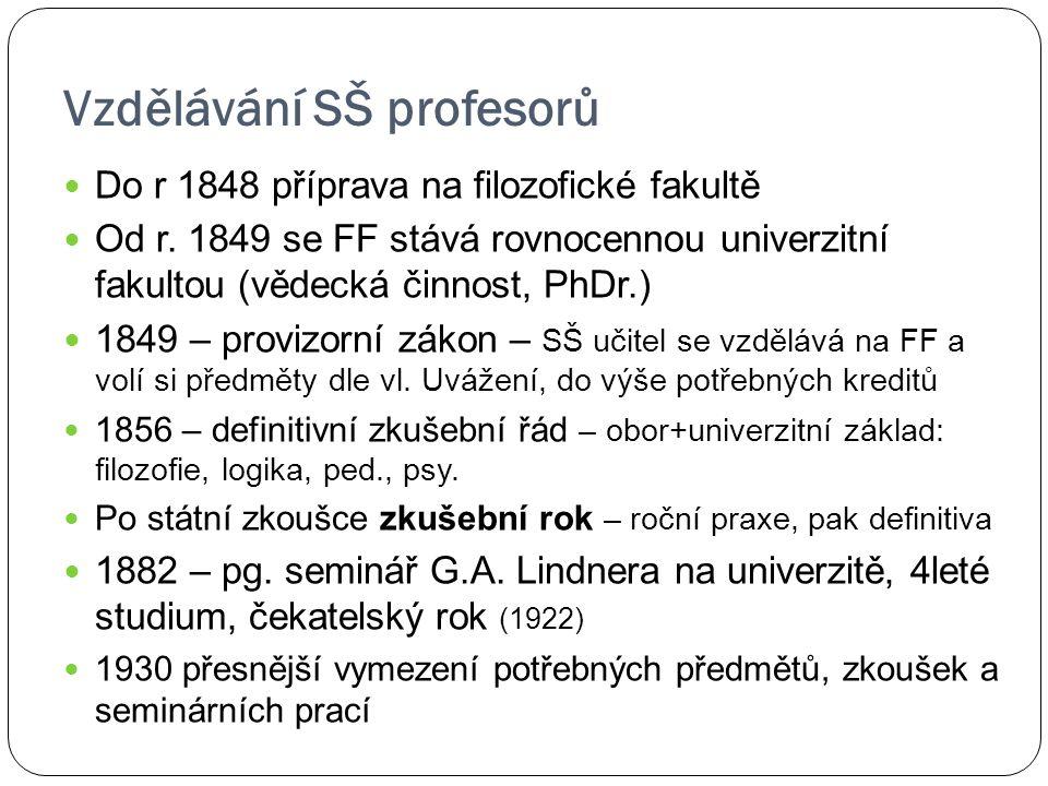 Vzdělávání SŠ profesorů Do r 1848 příprava na filozofické fakultě Od r. 1849 se FF stává rovnocennou univerzitní fakultou (vědecká činnost, PhDr.) 184