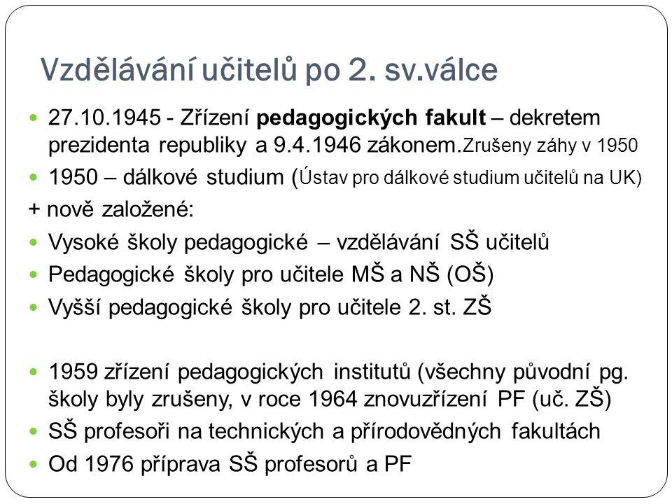Vzdělávání učitelů po 2. sv.válce 27.10.1945 - Zřízení pedagogických fakult – dekretem prezidenta republiky a 9.4.1946 zákonem. Zrušeny záhy v 1950 19