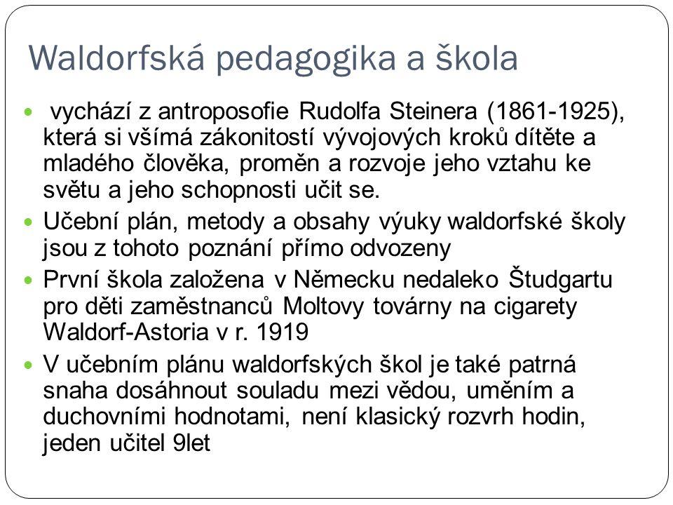 Waldorfská pedagogika a škola vychází z antroposofie Rudolfa Steinera (1861-1925), která si všímá zákonitostí vývojových kroků dítěte a mladého člověk