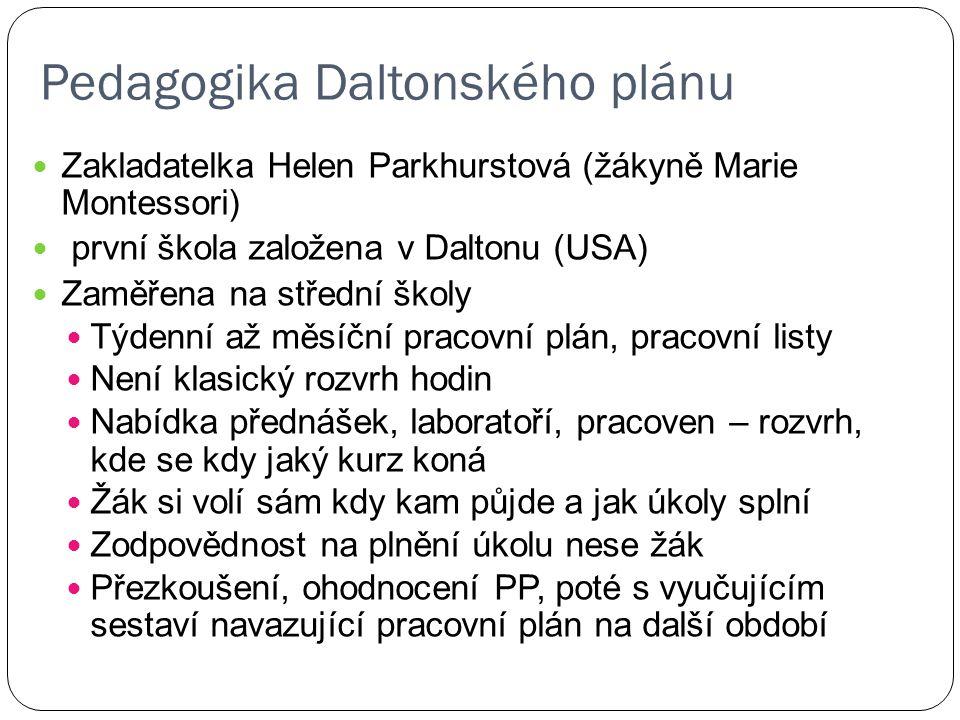 Pedagogika Daltonského plánu Zakladatelka Helen Parkhurstová (žákyně Marie Montessori) první škola založena v Daltonu (USA) Zaměřena na střední školy