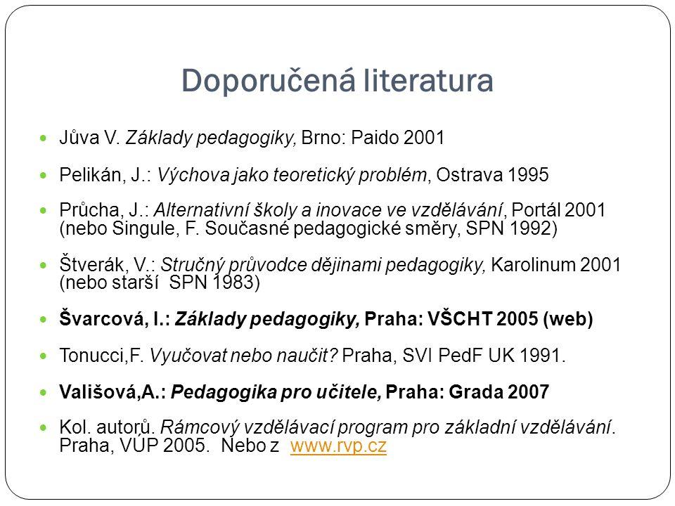 Doporučená literatura Jůva V. Základy pedagogiky, Brno: Paido 2001 Pelikán, J.: Výchova jako teoretický problém, Ostrava 1995 Průcha, J.: Alternativní