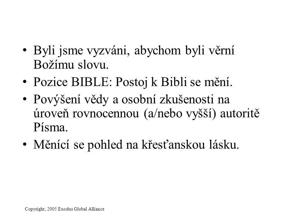 Copyright, 2005 Exodus Global Alliance Byli jsme vyzváni, abychom byli věrní Božímu slovu. Pozice BIBLE: Postoj k Bibli se mění. Povýšení vědy a osobn