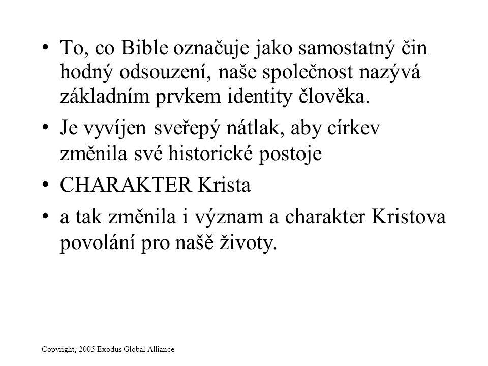 Copyright, 2005 Exodus Global Alliance To, co Bible označuje jako samostatný čin hodný odsouzení, naše společnost nazývá základním prvkem identity člo