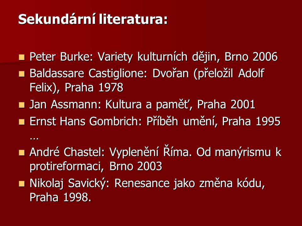 Sekundární literatura: Peter Burke: Variety kulturních dějin, Brno 2006 Peter Burke: Variety kulturních dějin, Brno 2006 Baldassare Castiglione: Dvořa