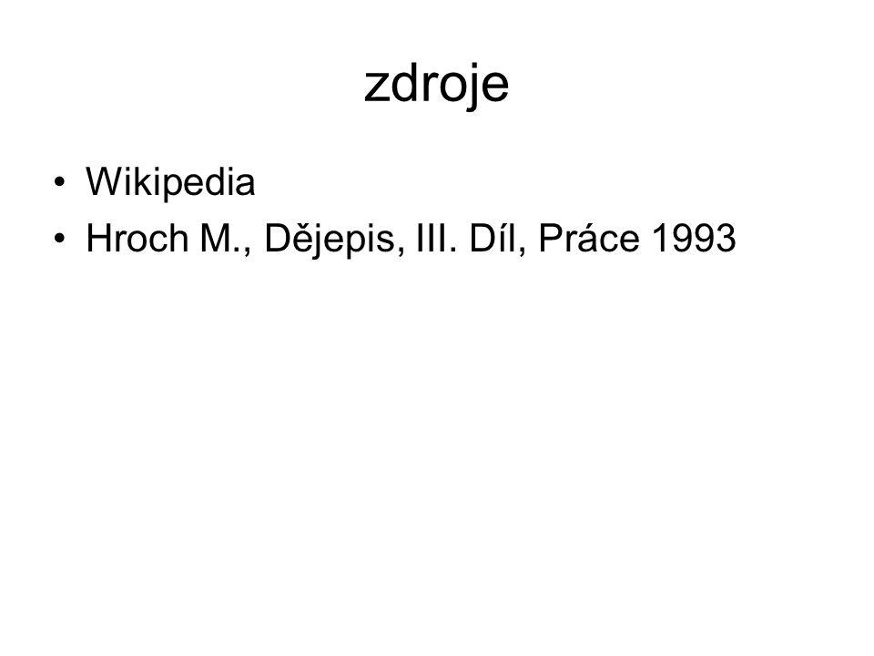 zdroje Wikipedia Hroch M., Dějepis, III. Díl, Práce 1993