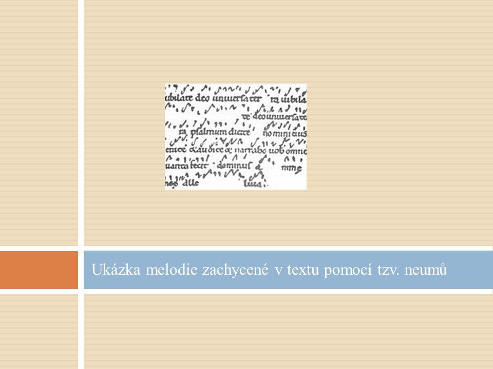 Ukázka melodie zachycené v textu pomocí tzv. neumů
