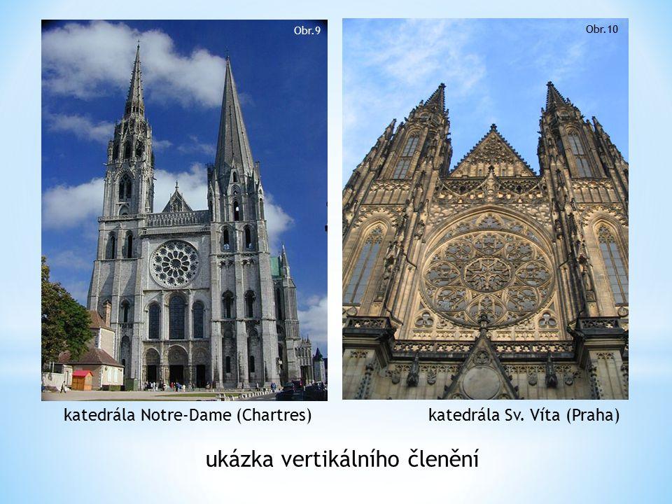 katedrála Notre-Dame (Chartres) katedrála Sv. Víta (Praha) ukázka vertikálního členění Obr.9 Obr.10