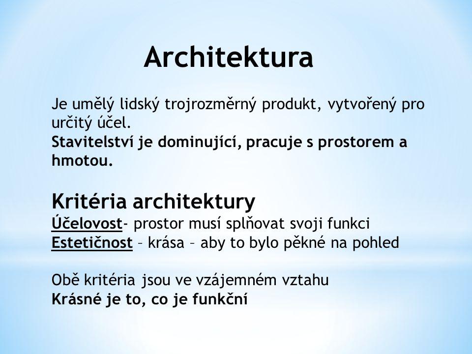 Architektura Je umělý lidský trojrozměrný produkt, vytvořený pro určitý účel. Stavitelství je dominující, pracuje s prostorem a hmotou. Kritéria archi