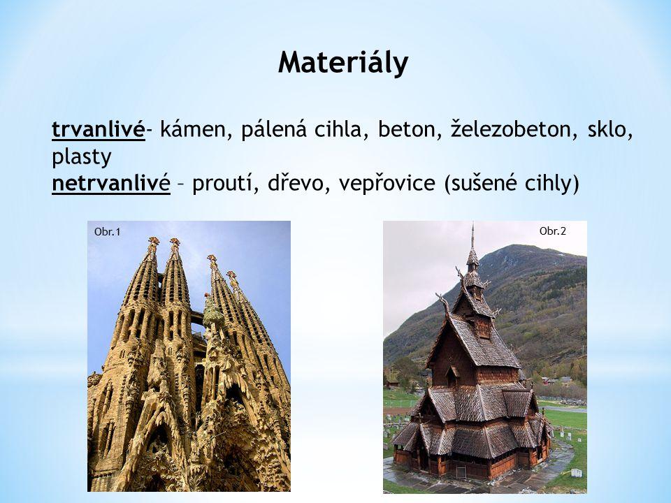 Materiály trvanlivé- kámen, pálená cihla, beton, železobeton, sklo, plasty netrvanlivé – proutí, dřevo, vepřovice (sušené cihly) Obr.1 Obr.2