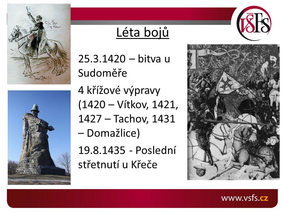Léta bojů 25.3.1420 – bitva u Sudoměře 4 křížové výpravy (1420 – Vítkov, 1421, 1427 – Tachov, 1431 – Domažlice) 19.8.1435 - Poslední střetnutí u Křeče