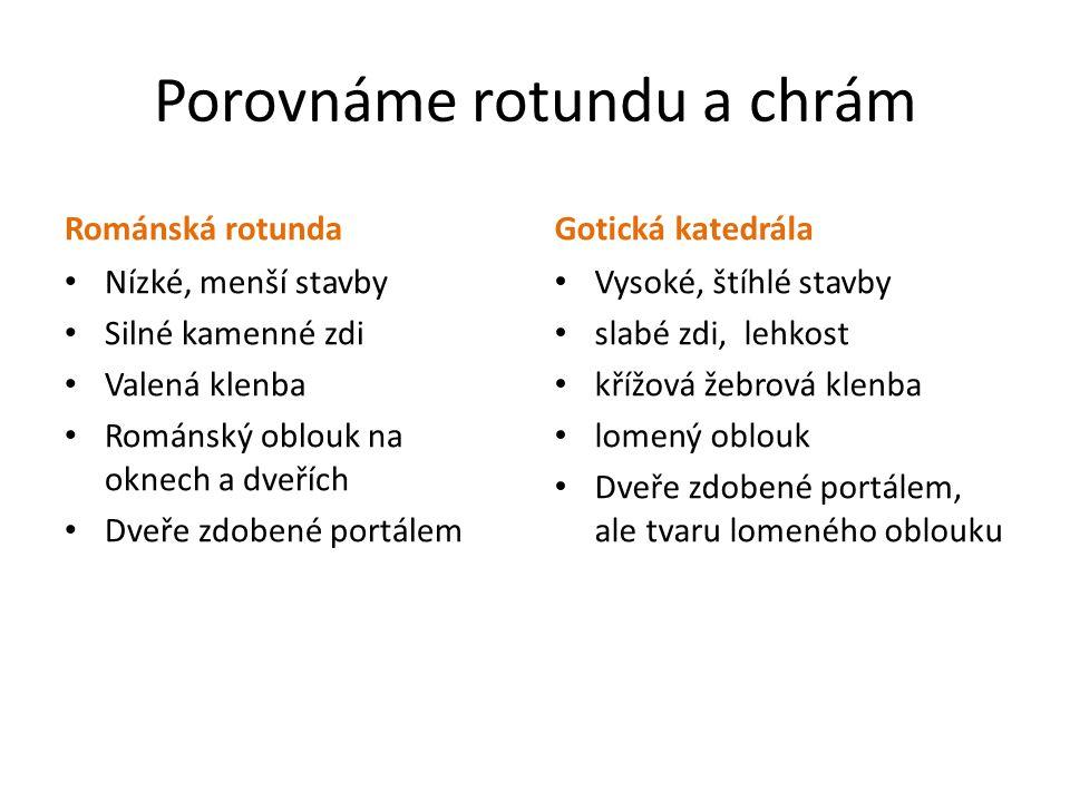 Porovnáme rotundu a chrám Románská rotunda Nízké, menší stavby Silné kamenné zdi Valená klenba Románský oblouk na oknech a dveřích Dveře zdobené portá