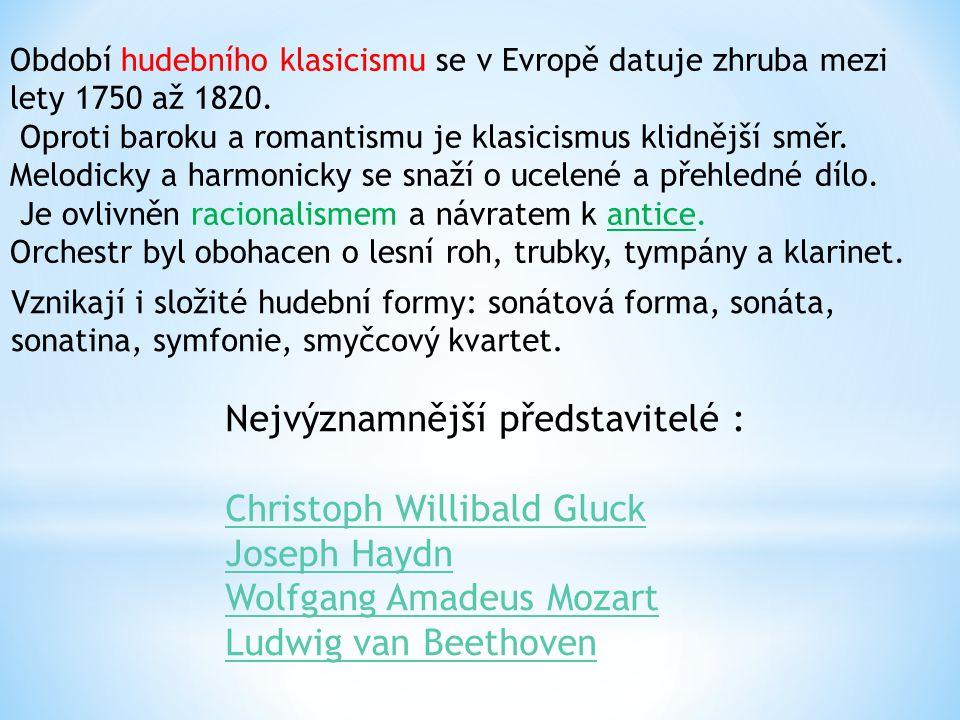 Období hudebního klasicismu se v Evropě datuje zhruba mezi lety 1750 až 1820. Oproti baroku a romantismu je klasicismus klidnější směr. Melodicky a ha