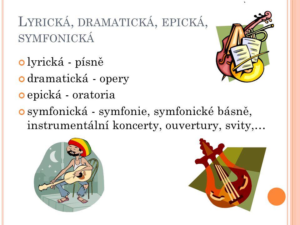 I NSTRUMENTÁLNÍ, VOKÁLNÍ, VOKÁLNĚ - INSTRUMENTÁLNÍ instrumentální – pouze nástroje vokální – pouze zpěv vokálně – instrumentální – nástroje i zpěv doh