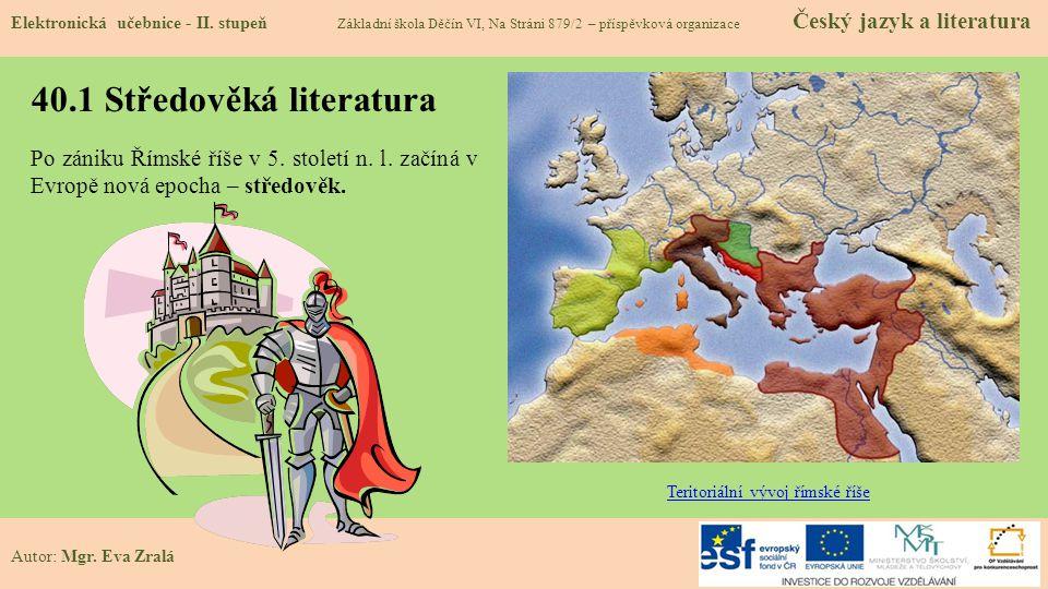 40.1 Středověká literatura Elektronická učebnice - II.