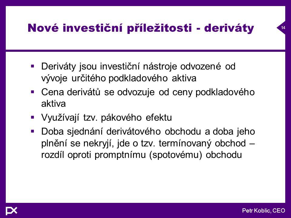 Petr Koblic, CEO 14 Nové investiční příležitosti - deriváty  Deriváty jsou investiční nástroje odvozené od vývoje určitého podkladového aktiva  Cena derivátů se odvozuje od ceny podkladového aktiva  Využívají tzv.