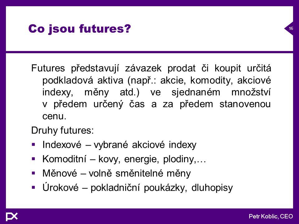 Petr Koblic, CEO 16 Co jsou futures.