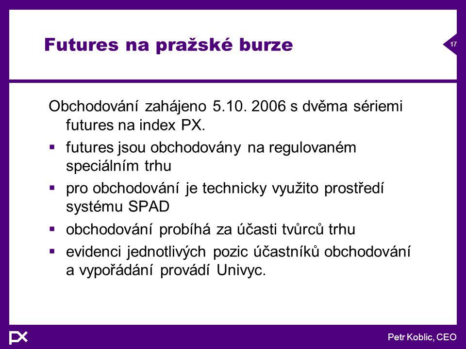 Petr Koblic, CEO 17 Futures na pražské burze Obchodování zahájeno 5.10.