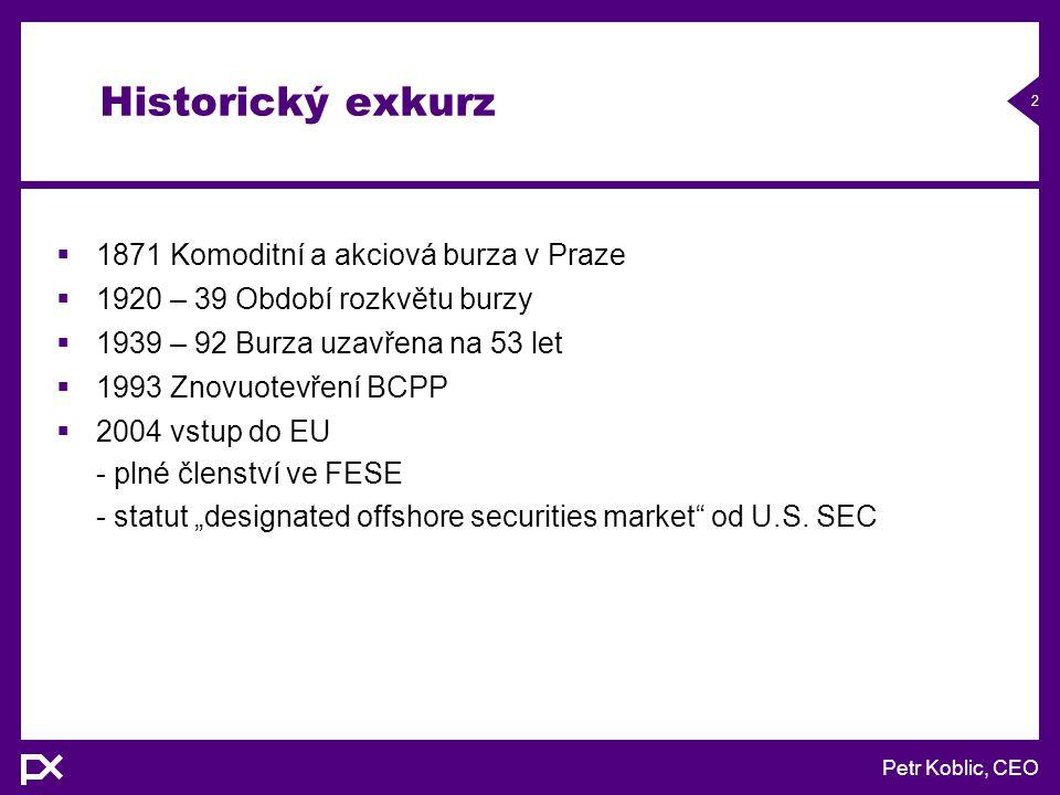 Petr Koblic, CEO 13 Obchodování certifikátů na BCPP  Investiční certifikáty jsou obchodovány na oficiálním volném trhu  Pro obchodování je technicky využit systém SPAD za účasti jednoho specialisty – obdoba tvůrce trhu  Obchodovány jsou v CZK  Evidenci majitelů investičních certifikátů vede Univyc  Standardní termín vypořádání je T+3.