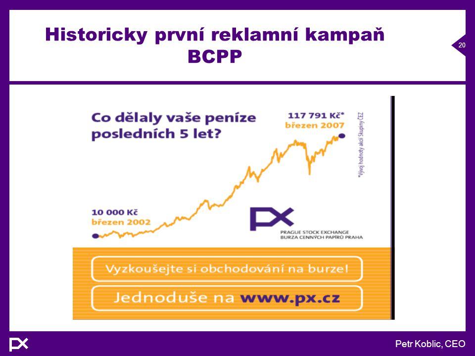 Petr Koblic, CEO 20 Historicky první reklamní kampaň BCPP