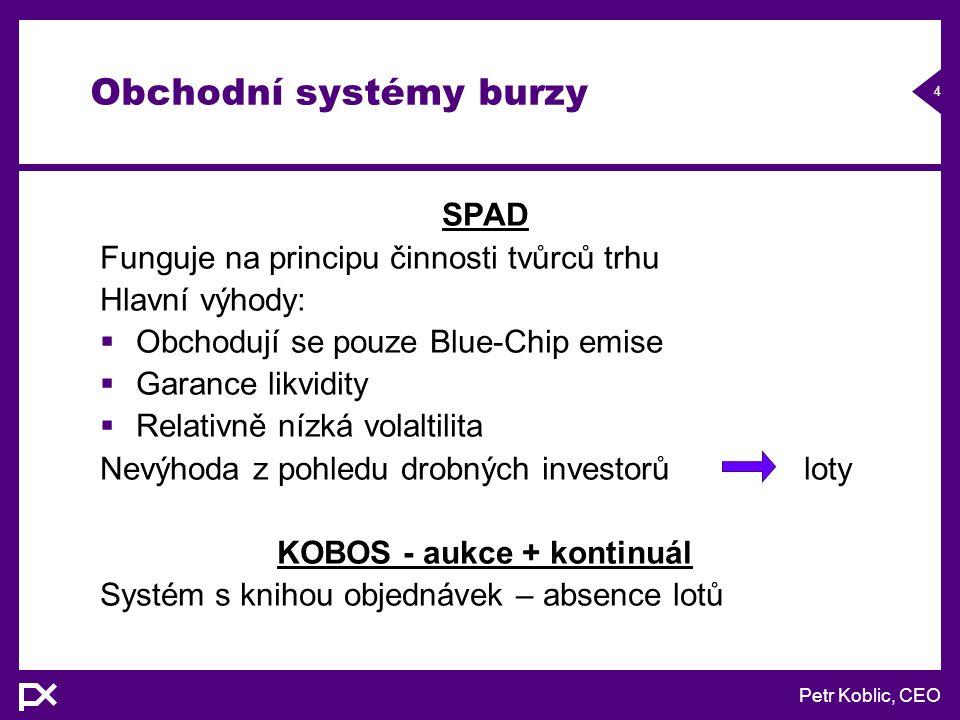 Petr Koblic, CEO 15 Typy derivátů Burza má licenci, která umožňuje emitovat širokou škálu derivátových produktů:  Futures  Opce  Swapy  Warranty.